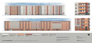 Ansichten der Fassade Marchlewskistraße mit neuen Farbanstrichen in Rot, Orange und Grau. Entwurf: Ralf K. Lang