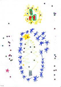 Kinderzeichnung mit Sternen und Tannenbaum