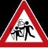 Verkehrszeichen mit zwei Kindern mit Schultüten