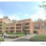 Abgestufter Baukörper mit Holzfassade und Balkonen
