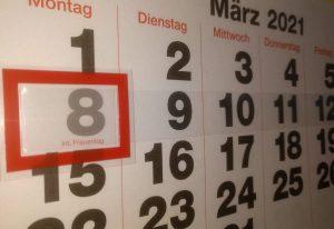 Kalender: Montag, 8. März 2021