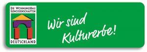 """Logo """"Die Wohnungsbaugenossenschaften Deutschland - Wir sind Kulturerbe"""""""