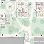 Drei neue Gebäude im begrünten Innenhof, Grundriss M 1:200