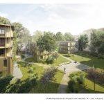 Blick auf begrünten Hinterhof mit drei neuen Baukörpern.