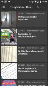 Vorschauübersicht von Neuigkeiten der Bewohnergenossenschaft mit kleinen Bildern, Daten und Überschriften