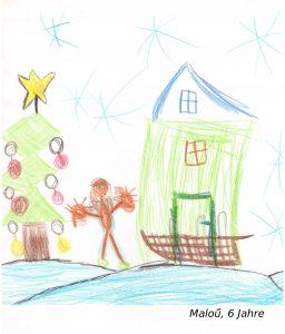 Kinderzeichnung mit Haus und Weihnachtsbau
