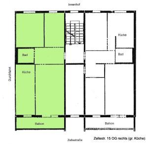 Grundriss Zellestraße 15, rechts, große Küche